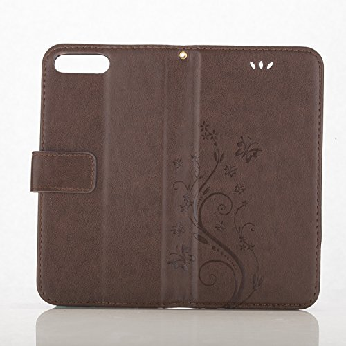 iPhone 7 Plus Custodia, iPhone 7 Plus Custodia Portafoglio, iPhone 7 Plus 5.5 Plus Custodia Pelle, JAWSEU Lusso Diamante 3D Modello Creativo Design PU Leather Wallet Flip Cover Custodia per iPhone 7 P Marrone