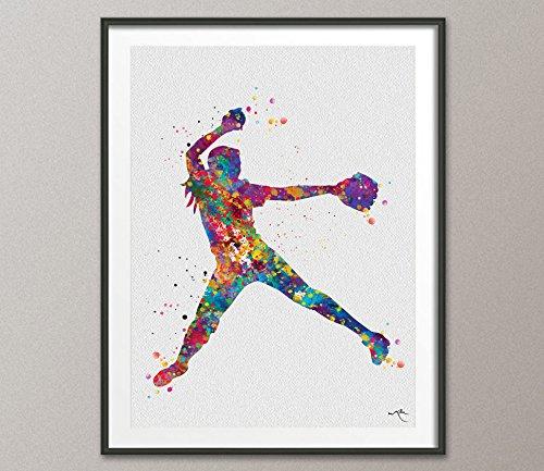 COCOMILLA Baseball Player Watercolor Print Softball Krug Print Baseball Kunst Wand Baseball Poster Softball Geschenk Sport Decor Geschenk Sport Wand art-1051 5.83 x 8.27 (Baseball-kunst-drucke)