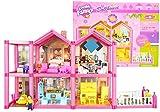 Große Puppenhaus mit Möbeln und Figuren - Breite 69 cm - 2 Etagen Puppenhaus aus Kunstoff - Puppenstube mit viel Zubehör - Villa mit Garten - 136 Teile