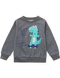 Hawkimin Jungen Dinosaurier Brief Print T-Shirt Tops Langarmshirt Sweatshirt Pullover Kleidung