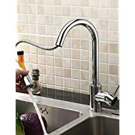 AI LI WEI Bathroom Furniture - Solid Brass Pull Down Kitchen Faucet - Chrome Finish