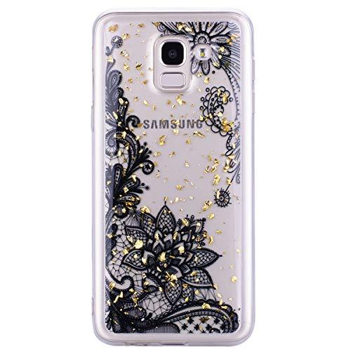 Miagon Durchsichtig Hülle für [Samsung Galaxy S9],Bling Glitzer Gold Folie Clear Soft Flexible TPU Handyhülle Rubber Silicone Skin Back Cover Schutzhülle -