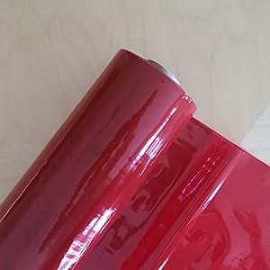 Gaine en PVC Rouge transparent Protecteur de Table vendu au mètre vinyle 55 cm-Largeur :  environ 140 mm 0,16 150 microns)