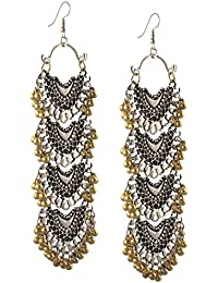 Zephyrr Fashion Silver Tone Afghani Multi Strand Dangler Hook Chandbali Earrings For Girls And Women