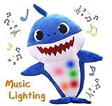 AMZYY Bébé Requin De Bande Dessinée en Peluche Jouets Doux Requins Chantant Et Rougeoyant Poupées Enfants Infantile Jouet Enfants Cadeaux,Blue