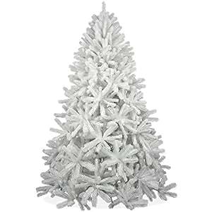 Weißer künstlicher Weihnachtsbaum 210cm in Premium Spritzguss Qualität, weiße Douglastanne, Tannenbaum weiß mit PE Kunststoff Nadeln, Douglasie Christbaum im schneeweißen Design