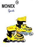 Monex Inline Skates Size Adjustable All Pure PU wheels it has Aluminum-Alloy which is Strong with LED Flash Light on wheels (Yellow)-Medium