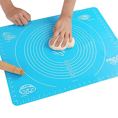 Silicone Baking Mat for Pastry Rolling Dough with Measurements, Liner Heat Resistance Table Placemat Pad Pastry Board, Reusable Non-Stick,Non Toxic and FDA Approved