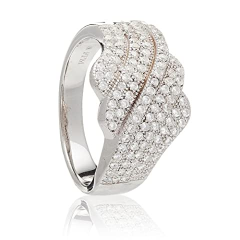 925 Sterling Silver UK Hallmarked Lab Diamonds White Gold Plated Cluster Diamonique Ladies Ring Band [Size M]