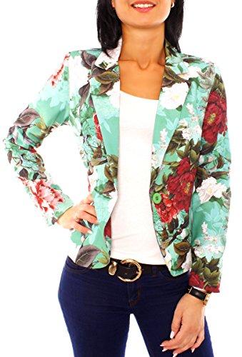 Damen Sommer Blazer Jacke Satinblazer Sakko Kurz Gefüttert Langarm Floral Geblümt Blumen-Muster Mint-Bunt XL - 42