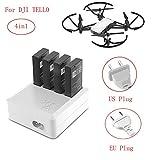 LILICAT 4in1 Multi Chargeur de batterie Hub RC Intelligent Charge rapide pour DJI Tello Drone Dajiang TELLO Chargeur 4 en 1 Blanc (B)