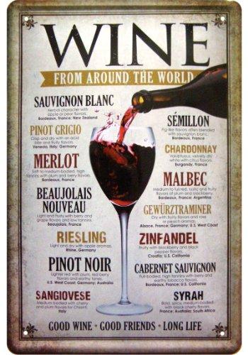 'Wine from around the World' Deko Motiv Blechschild Replik Tin Sign