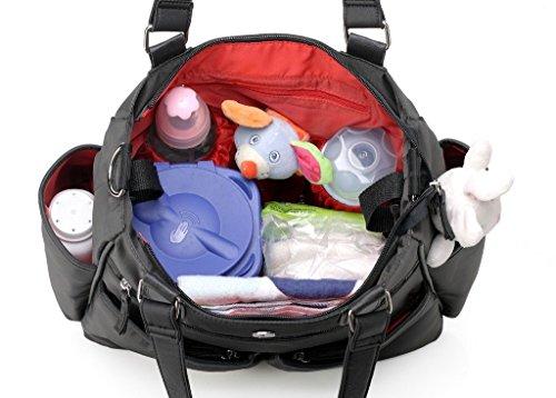 Fumee Handlich Kinder Nappy Wickeltaschen Abwischbar Tote Umhängetasche Mama Handtaschen mit Wickelauflage (Schwarz/Grau) Schwarz/Grau