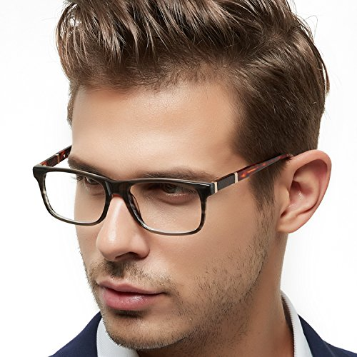 OCCI CHIARI Optische Brillen Rahmen modisch flexibles Rechteck brille ohne sehstärke Dekoration Brillengestell mit Federscharnier die UV-Kopfschmerzen blockieren Herren