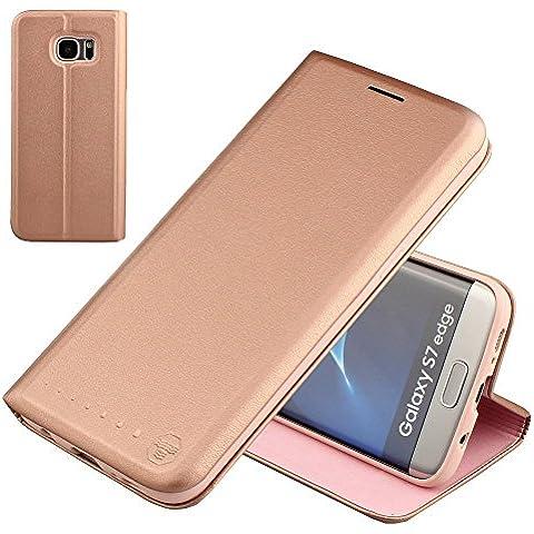 Nouske Samsung Galaxy S7 Edge Funda protectora de tipo Cartera para teléfonos móviles/TPU protección frente a golpes/Estuche para tarjetas de crédito/Soporte/Conciso y Ultra delgado/Hebilla magnética,oro rosa.