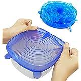 Couvercles Extensibles, Kitclan Couvercle hermétique en Silicone, Couvercle Universel/ Conservation des aliments, Convient au Micro-ondes/ le four/ le frigo/ le lave-vaisselle ect, Une serie de 6 tailles différentes