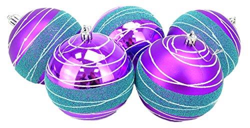 Bauble Bead (Christmas Concepts® Pack von 5 - Extra Large 100mm Luxus Weihnachtsbaum Baubles - Glänzend, Matte & Bead Dekoriert Baubles (Purple & Ice Blue))