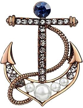 ❤Valentinstagsgeschenke❤ Brosche Anker Braun Kaffee Gold Perlen und Strass Zirkonia Neoglory Jewellery