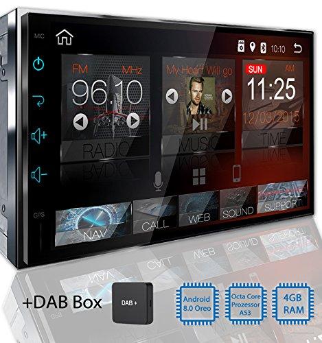 Tristan Auron BT2D7018A Autoradio mit Android 8.0 + DAB+ Box, 7'' Touchscreen Bildschirm, GPS Navi, Bluetooth Freisprecheinrichtung, Octa Core, MirrorLink, USB/SD, DAB, 2 DIN Auto