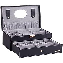 Uhrenbox Uhrenkoffer Uhrenkasten Schmuckkasten Uhrenschatulle für 6 Uhren BG052BK