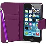 Supergets Hülle für Apple iPhone 5 Buch-Stil Imitat Leder Tasche in Lila Brieftasche Etui Schale Case, Eingabestift, Schutzfolie