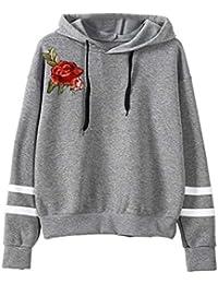 KEERADS Damen Langarmshirt Sweatshirt Pullover, 9 Arten von Mode-Stile  optional, XS- f0cd65cc03
