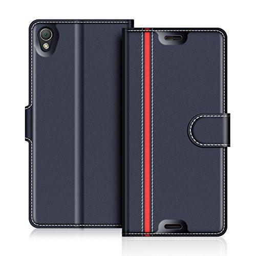 COODIO Sony Xperia Z3 Hülle Leder Lederhülle Ledertasche Wallet Handyhülle Tasche Schutzhülle mit Magnetverschluss/Kartenfächer für Sony Xperia Z3, Dunkel Blau/Rot