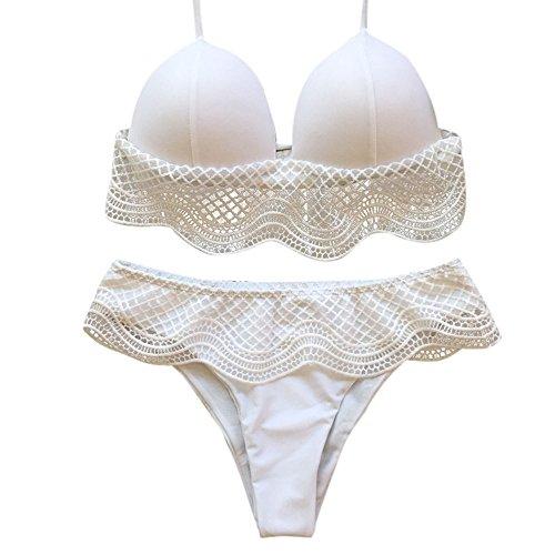 Xmiral Badeanzüge Strandkleidung Damen Bandage Bikini Set Bademode Volants Separate Schwimmanzug Bademode(S=DE32-34,Weiß)