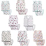 Kurtzy New Born Baby Dress Pure Cotton Jabla Clothing with Nappies (0-6 Months)(Set of 8)(Assorted Prints)