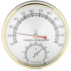 Thermomètre de Pièce de Sauna, Hygromètre-thermomètre D'intérieur D'hygromètre de Thermomètre à Cadran en Métal pour la Pièce de Sauna