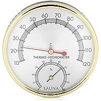 GLOGLOW Termómetro de la Sala de Sauna, Metal Dial Termómetro Interior Higrómetro Medidor de Humedad Sauna Accesorio de la habitación