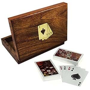Set di 4 - suonare insieme gift card - legno contenitore di titolare della carta con 2 mazzi di carte da gioco di plastica - regali pacchetto -16 x 12 x 3,8 cm