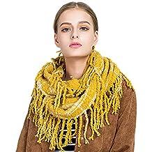 Tacobear Femmes Tricot Laine Écharpes Carreaux Rcharpe hiver chaud épais  foulard boucle Cercle Echarpe tricotée Snood f0ff8137fff