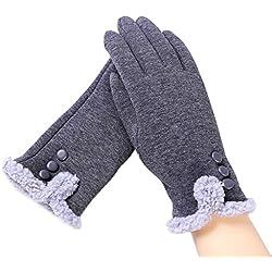 Aibrou Guantes Invierno Mujer de navidad Tactiles Pantalla Guantes y manoplas, Una Talla (Gris-D)
