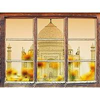 Taj Mahal in estate, finestra di adesivi murali 3D Formato: Decorazione della parete 92x62cm 3D adesivi da parete decalcomanie