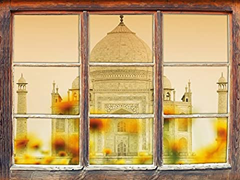 Taj Mahal in the summer, window 3D Wall Stickers Format: 92x62cm Wall Decoration 3D Wall Stickers Wall Decals