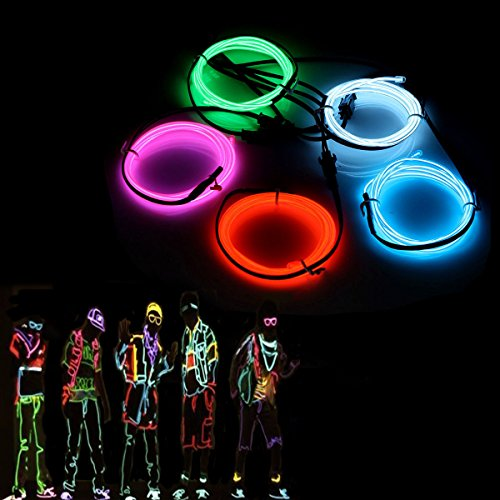 audew 5 x 1 Meter EL wrie Neon Light glowing stroboskopischer Dance Party Kostüm Decor leichter, flexibler EL Seil Neon Wasserdicht LED Strip mit Controller indoor outdoor Halloween Dekorationen (Outdoor-halloween-dekoration)