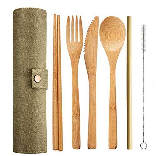 Bambus Campingbesteck Set, Reise Besteck Set Wiederverwendbare Bambus Messer Gabel Löffel Stäbchen Strohhalme Outdoor Reisebesteck Leicht Umweltfreundliches Besteckset für unterwegs mit Reiseetui
