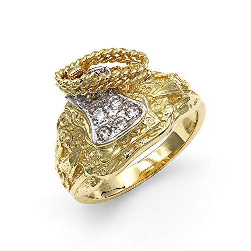 Jewelco London Herren aus massivem 9ct Gelb Gold Weiß Brilliant Rund Zirkonia Pferd Sattel Seil Ring