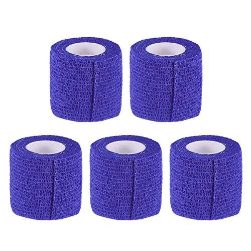 Vosarea 5 Rolls Nonwovens Pets Bandages Wraps Animal Bandages 5cm x 4.5m (Dark Blue)