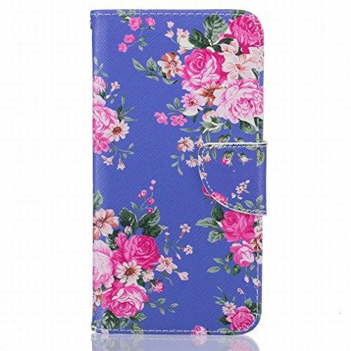 LEMORRY Huawei Honor 5A Etui Cuir Flip Portefeuille Pochette Mince Bumper Protecteur Magnétique Fermeture Standing Fente Carte Soft Silicone TPU Housse Case Cover Coque pour Huawei Honor 5A (Huawei Y6 II), Imprimé floral