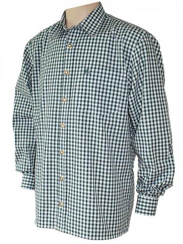 S-6XL 37-54cm Trachtenhemd Karo-Hemd Trachten-Pfoadl Karohemd grün kariert Jagd, Größe:L = 41/42