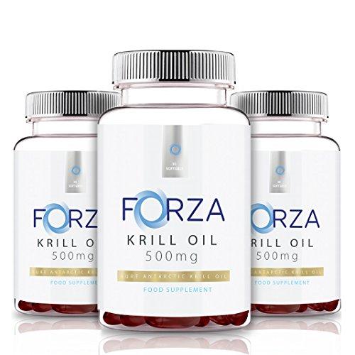 FORZA Krill Oil 500mg - Heart Health, Brain Health, Eye Health - Highest Levels Of Omega-3