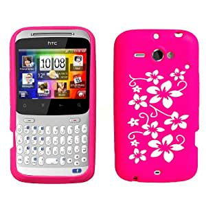 HTC ChaCha Floral Silicone Case Cover Hot Pink And White