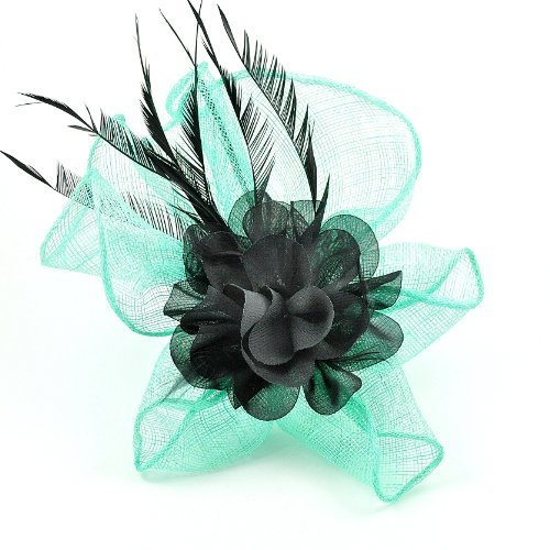 Aqua Sinamay, Black Chiffon & Feather Flower Design Fascinator on Spring Clip/ Pin - Perfect for Weddings, Race Meetings And Any Other Special Occasion (AF2710) by Chelsea Jones
