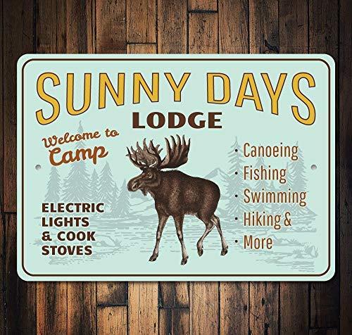 qidushop Lodge Namensschild mit Elch, Elch und Elch, Geschenk, Geschenk für Hausdekoration, Wandposter, Hauseinweihung, Geschenk - Lodge-tür