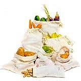 WIEDERVERWENDBARE PRODUKT-TASCH' Satz von 7 wiederverwendbaren Musselin-Taschen (1 Stück von XXL, L, M, S, XS und 2 Stück von XL) für GO GRÜN, ZERO WASTE Lebensmittelgeschäft' Maschinenwaschbar' Geringes Gewicht' Eigengewicht' Gemüse Tasche