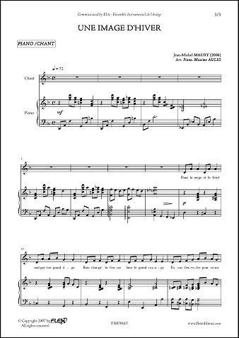 FLEX EDITIONS MAURY J.-M. - UNE IMAGE D\'HIVER - CHILDREN\'S CHOIR AND PIANO