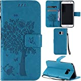 Ooboom® Samsung Galaxy S7 Edge Case Cat Tree Pattern PU Leather Flip Cover Wallet Stand with Card/Cash Slots Packet Wrist Strap Magnetic Clasp for Samsung Galaxy S7 Edge - Blue