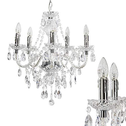 Kronleuchter aus Acryl klar - Klassische Hängeleuchte für Esszimmer - Wohnzimmer - Schlafzimmer -...
